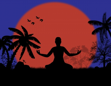 Vector illustration of yoga meditation in lotus pose by woman silhouette at sunset landscape background, vector illustration Stock Vector - 22200456