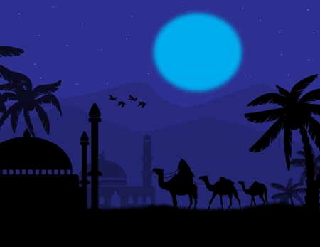 convoy: Beduino carovana di cammelli nel paesaggio arabo sul blu tramonto, illustrazione vettoriale