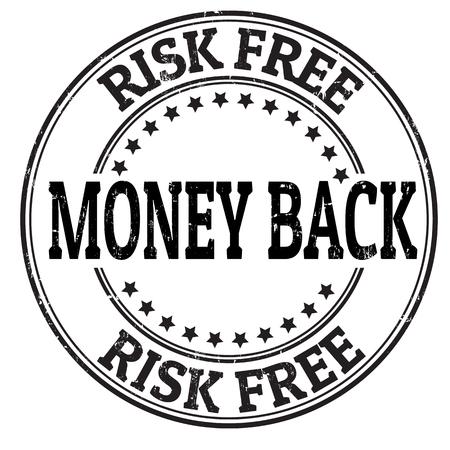 assure: Money back, risk free grunge rubber stamp on white, vector illustration Illustration