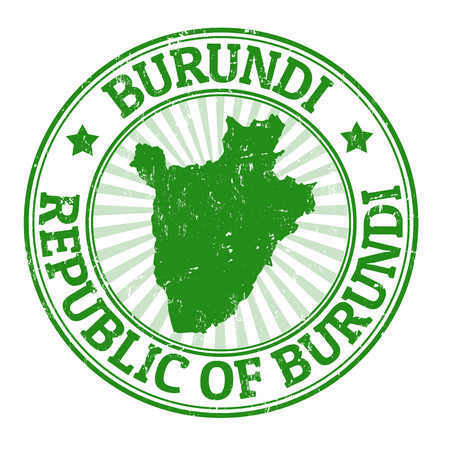 Grunge rubber stamp with the name and map of Burundi  Vector