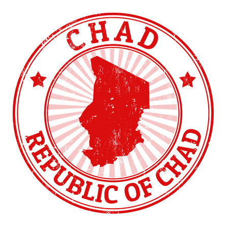 chad: Grunge rubber stamp with the name and map of Chad