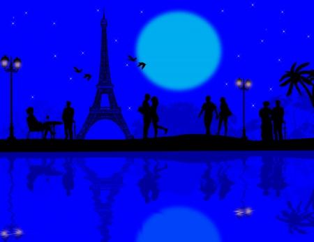 Paris en el amor en la hermosa puesta de sol azul, ilustración vectorial Foto de archivo - 22366660