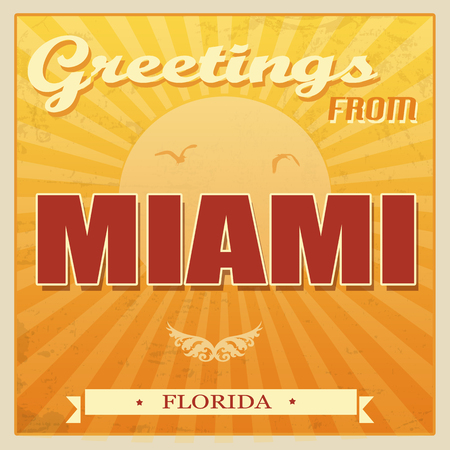 Vintage Touristic Greeting Card -Miami, Florida, vector illustration Vector