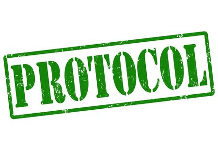 Protocolo grunge sello de goma en blanco, ilustración vectorial
