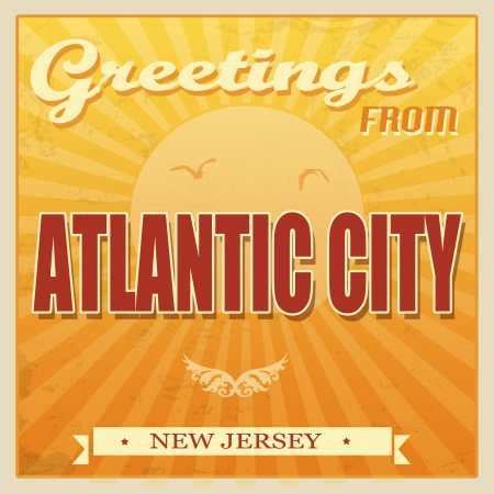 atlantic city: Vintage Touristic Greeting Card -Atlantic City, New Jersey