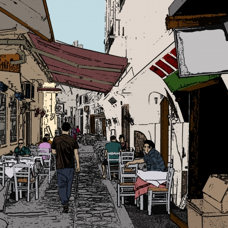 santorini greece: Vector illustration of a typical small street in  Greece