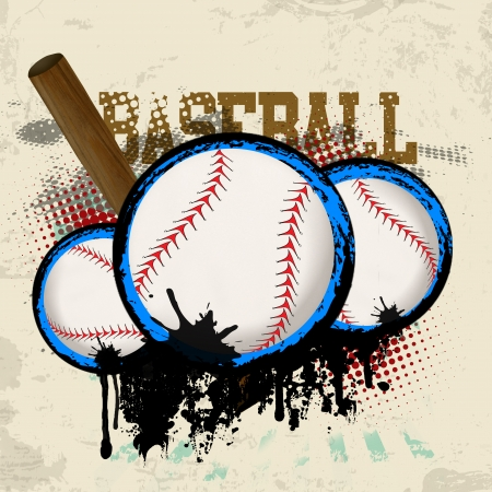 sphere base: Baseballs and baseball bat on vintage grunge background