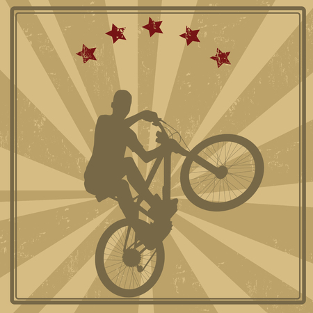 stunts: Retro style  of a BMX cyclist with a banner and stars