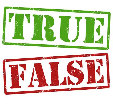 言葉は True と False、ベクトル イラスト グランジ ゴム印セット