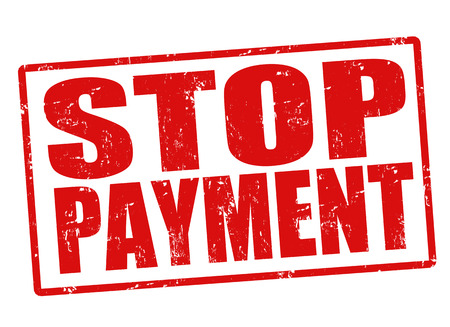 stoppage: Stop payment grunge rubber stamp on white