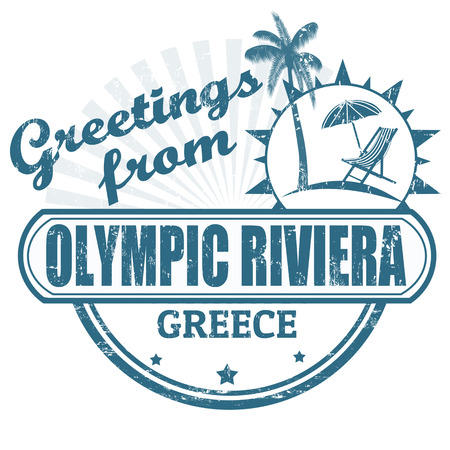 greece stamp: Grunge rubber stamp with text Greetings from Olympic Riviera, Greece