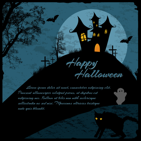 house at night: Halloween background with haunted house, bats and full moon  Illustration