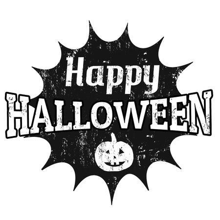 Happy Halloween Grunge Graphic Design On White, Vector Illustration Illustration