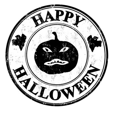 Happy halloween grunge rubber stamp, vector illustration Vector