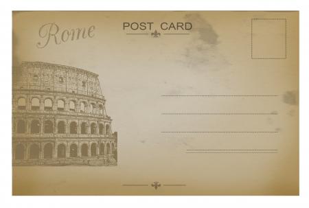 Vintage grunge ansichtkaart met Colosseum, vector illustratie Stock Illustratie