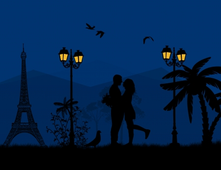 first love: Lovers in Paris at blue night, vector illustration