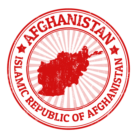 afghanistan: Grunge rubber stamp with the name and map of Afghanistan, vector illustration