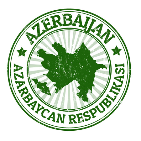 azerbaijan: Grunge rubber stamp with the name and map of Azerbaijan, vector illustration