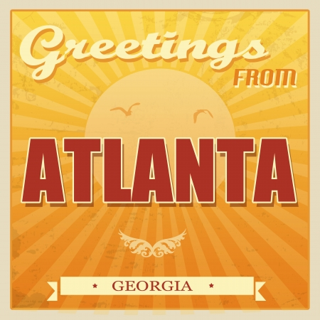 ecard: Vintage Touristic Greeting Card - Atlanta, Georgia, vector illustration