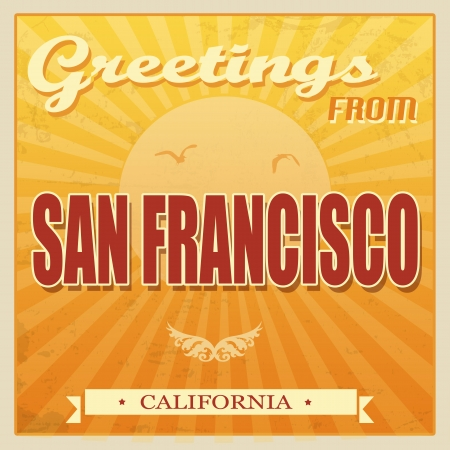 ecard: Vintage Touristic Greeting Card - San Francisco, California, vector illustration Illustration