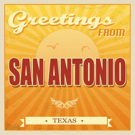 Vintage Touristic Greeting Card - San Antonio, Texas, vector illustration Vector