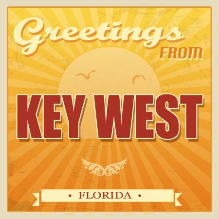 llave de sol: Vintage Tarjetas turística - Key West, Florida, ilustración vectorial Vectores