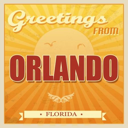 ecard: Vintage Touristic Greeting Card - Orlando, Florida, illustrazione vettoriale