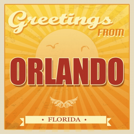 ecard: Vintage Touristic Greeting Card - Orlando, Florida, vector illustration