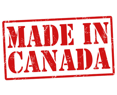 canada stamp: Made in Canada grunge rubber stamp on white, vector illustration