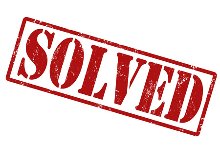 conclude: Solved grunge rubber stamp on white, vector illustration