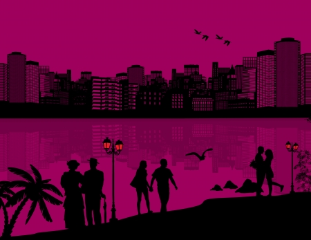 design background with beautiful cityscape and people silhouette with reflection on water Vector