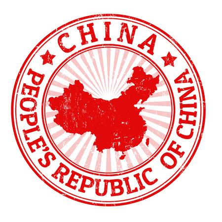 timbre voyage: timbre en caoutchouc grunge avec le nom et la carte de la Chine, de l'illustration