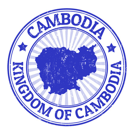 Grunge rubber stamp with the name and map of Cambodia, illustration Illusztráció