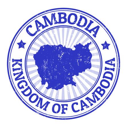 Grunge rubber stempel met de naam en de kaart van Cambodja, illustratie Stock Illustratie