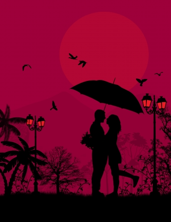 embraced: Embraced lovers in a park on red sunset, illustration