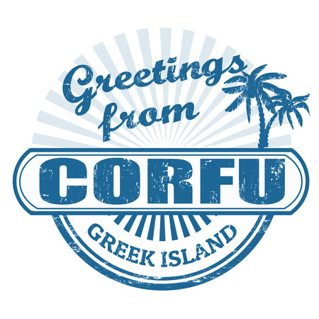 greet: Grunge rubber stamp with text Greetings from Corfu, greet island, illustration