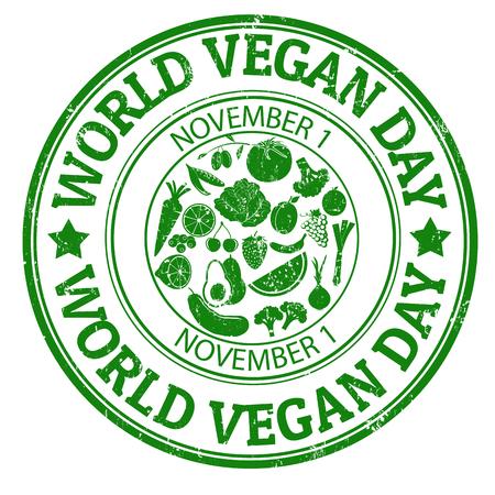 World vegan day grunge rubber stamp, illustration Vector