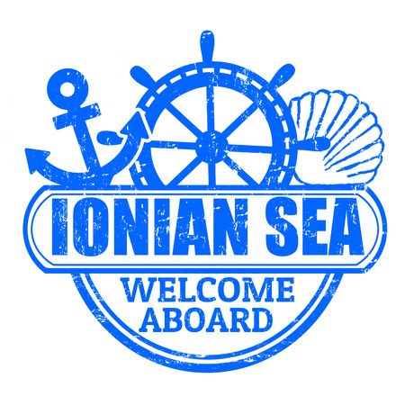 Grunge rubber stamp with the text Ionian Sea, welcome aboard written inside, illustration