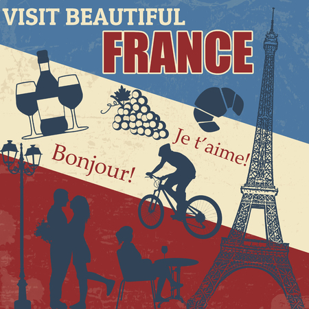 Travel vintage poster with symblos of  France, illustration Vector