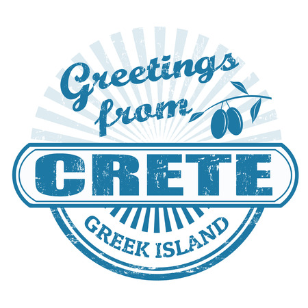 greet: Grunge rubber stamp with text Greetings from Crete, greet island, illustration