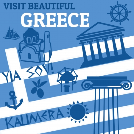 hellenistic: Travel  poster with symbols of Greece, illustration Illustration