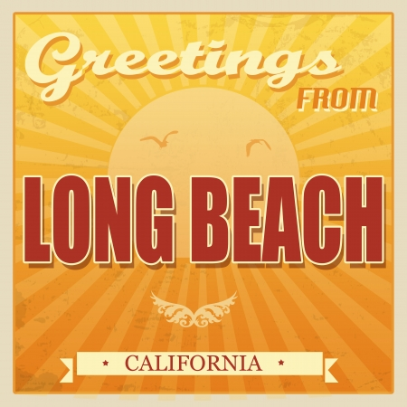Vintage Touristic Greeting Card - Long Beach, California, illustration Stock Vector - 22465112