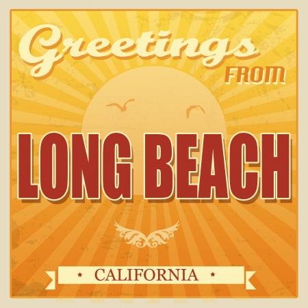 california beach: Vintage Touristic Greeting Card - Long Beach, California, illustration