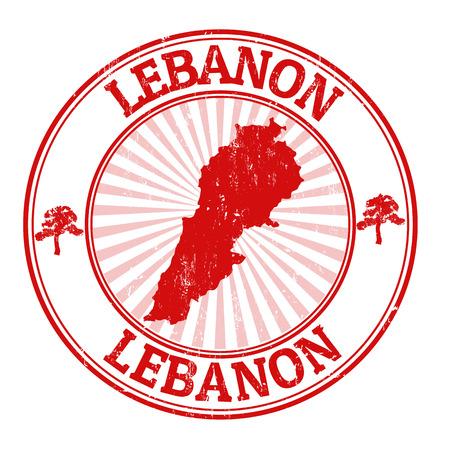 timbre voyage: Tampon en caoutchouc grunge avec le nom et la carte du Liban, illustration