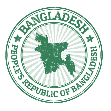 bangladesh: Grunge rubber stamp with the name and map of Bangladesh, illustration