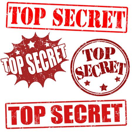 top secret: Top secret grunge stamp collection on white background, illustration