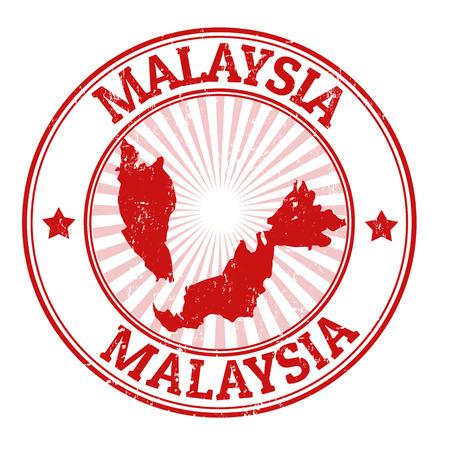 Grunge rubber stempel met de naam en de kaart van Maleisië, illustratie