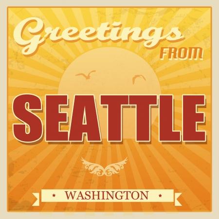seattle: Vintage Touristic Greeting Card - Seattle, Washington, illustration