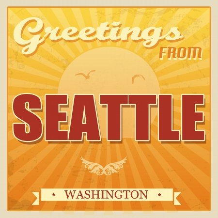 Vintage Touristic Greeting Card - Seattle, Washington, illustration