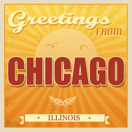 chicago: Vintage Touristic Greeting Card - Chicago, Illinois, illustration